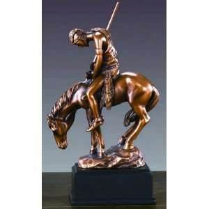 Bronze American Indian & Horse Sculpture   6 Tall x 4