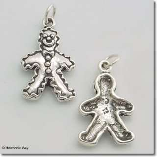 Sterling Silver GINGERBREAD MAN COOKIE Christmas Charm