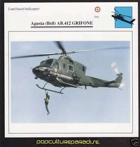 AGUSTA (BELL) AB.412 GRIFONE Helicopter PICTURE CARD