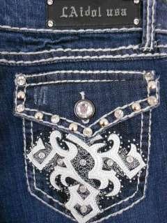 Women Plus Size LA Idol Bootcut Jeans Leather Cross Rhinestone Flap