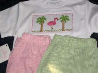 NEW VIVE LA FETE girls smocked Tee Shirt FLAMINGO 7 12