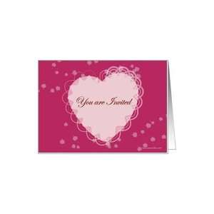 Valentine day invite pink heart lace hearts St valentine