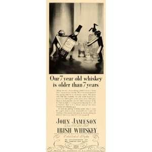 1935 Ad John Jameson Irish Whiskey Alcohol Liquor Aged Bottle Glasses