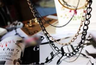 Cool Punk Style Multilayer Chains Sweater Necklace For Young Girl Lady