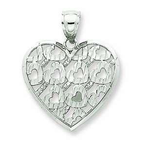 14K White Gold Diamond Cut Diagonal Heart Pendant