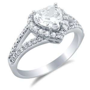Size 5   Solid 14k White Gold Heart Shape Solitaire with