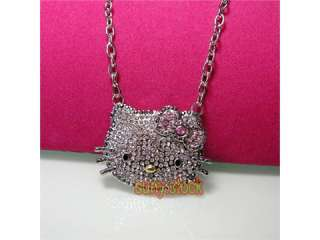 High quality black crystal hello kitty necklace L87