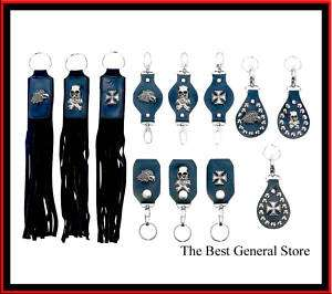 Leather Keychain Set Skull Cross Biker Goth Punk 12pc