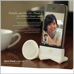 Silicone Horn Stand Amplifier Speaker for Apple iPhone 4S 4G White
