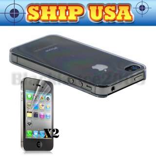ULTRA THIN CLEAR CASE FOR IPHONE 4S 4 + 2 Screen Protector BACK COVER