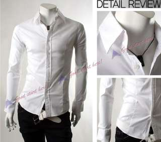 NEW Mens Long sleeve Solid Shirt Casual Slim Fit Dress Shirts