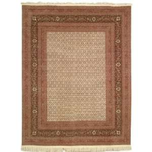 Hand Knotted Ivory and Black Wool Area Rug, 7 Feet 9 Inch by 9 Feet 9
