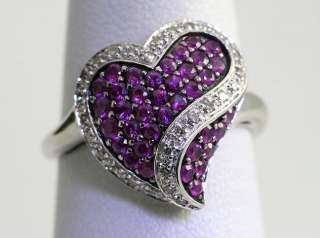 DRAMATIC .75CT DIAMOND PINK TOPAZ TWISTED HEART WHITE GOLD RING DEAL