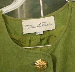 Couture OSCAR DE LA RENTA Skirt SUIT Sz 16 Made in USA Green