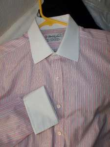 TURNBULL & ASSER Pink w/ White Cuffs & Collar French Cuff Dress Shirt