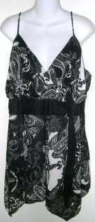 Black & white print asymmetrical sleeveless tunic top 1X
