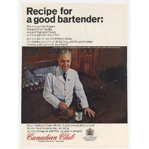 1965 Recipe For Good Bartender Canadian Club Whisky Print