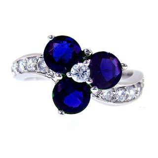 fashion valentine gift BLUE SAPPHIRE WHITE GOLD GP COCKTAIL RING NIB