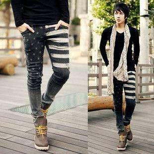 2012 Mens Korean Fashion Star Slim Straight Jeans Black 3274