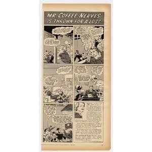 1940 Mr Coffee Nerves Cartoon Postum Drink Print Ad (12130