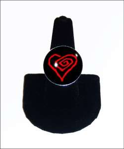 Marilyn Manson Heart Glass Sterling Silver Ring RR 246