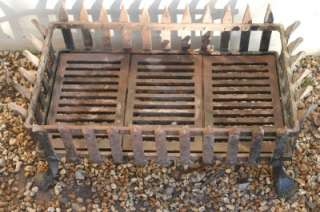 Antique Grand Cast Iron Fire Grate / Large Fire Basket, Blacksmiths