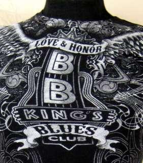 BB Kings Blues Club Love & Honor Women Black T Shirt Small Black