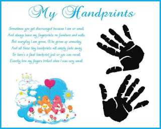 CARE BEARS Baby Boy Handprints Scrapbook Print Glossy