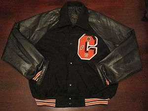 Mint VTG Leather Wool Varsity Letterman Jacket Coat Black Orange Swag
