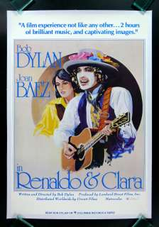 RENALDO & CLARA * MOVIE POSTER JOAN BAEZ BOB DYLAN 1978