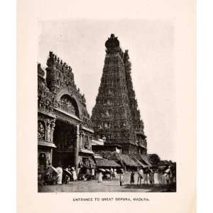Temple Gateway Tower Madurai India   Original Halftone Print Home