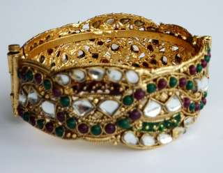 Bollywood India Antique Gold RED GREEN Wave Cuff Bangle