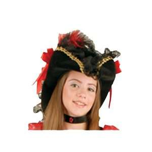 Black and Red Lacey Pirate Hat Child Costume Accessory