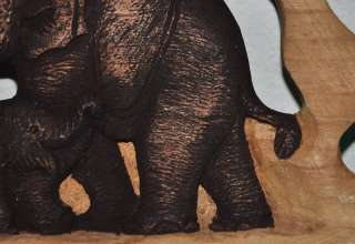 Elephants Thai Art Real Teak Wood Wall Decor Hanging Panel Craft