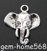 40 Tibetan Silver Elephant Animal Charms Pendants B433