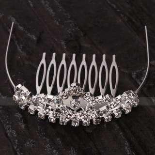 Wedding Bridal Jewelry Rhinestone Tiaras Crown Hair Comb Pin 001