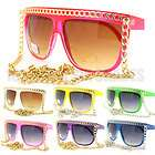 Celebrity Pop Star Fat GOLD/SILVER CHAIN Sunglasses Flat Top Oversized