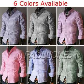 PJ Fashion Mens Longsleev​e Casual Dress Shirts S~XL