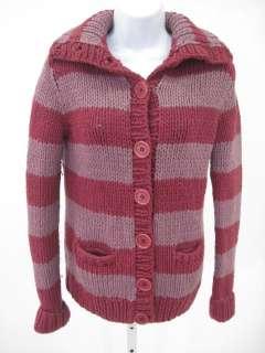 MARC JACOBS Burgundy Stripe Button Up Sweater Sz S