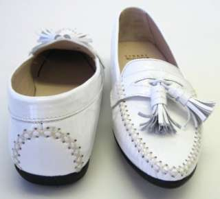 Stuart Weitzman White Patent Leather Loafers Shoes $180