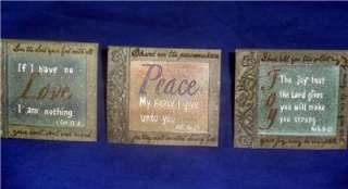 Set of 3 Inspirational Signs Peace Love & Joy FREE Ship