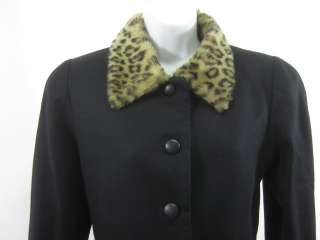 BERGDORF GOODMAN Black Faux Fur Wool Coat Jacket Sz 6