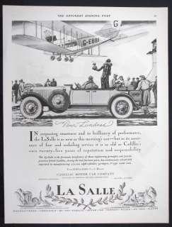 1927 CADILLAC LA SALLE Motor Car magazine Ad Bi plane Airliner