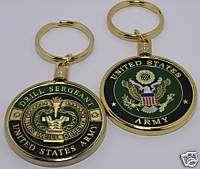 KEYCHAIN U.S. ARMY DRILL SERGEANT 1 3/4 COIN