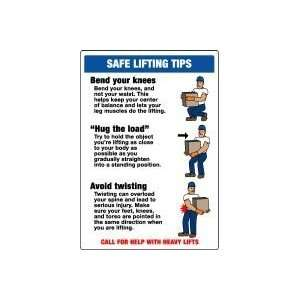 LIFTING TIPS  (W/GRAPHIC) 20 x 14 Plastic Sign: Home Improvement