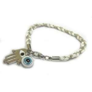 Hamsa/Hand of Fatima Good Luck Charm Bracelet with Turquoise Evil Eye