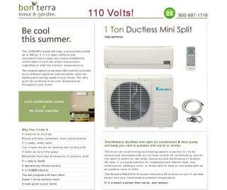 110V Ductless Mini Split Air Conditioner Heat Pump   12000 BTU 1 Ton