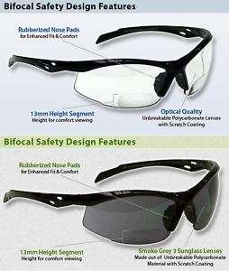 Bifocal Safety Glasses Clear Lens Black Frame Readers
