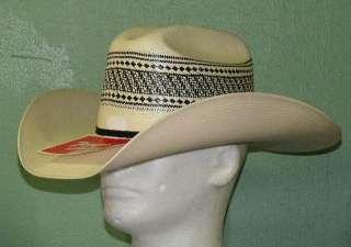 TONY LAMA 10X BLACK/IVORY VENTED SHANTUNG STRAW COWBOY WESTERN HAT