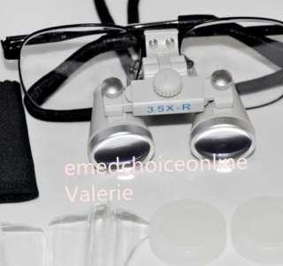 Dental Surgical Binocular Loupes 3.5X 420mm Optical Glass Loupe & LED